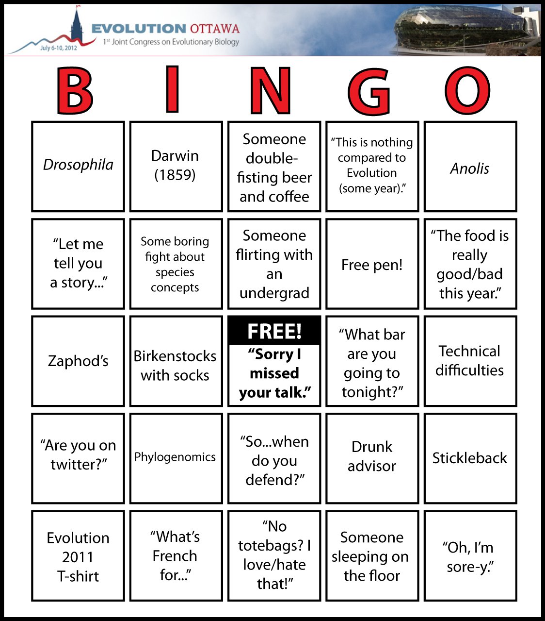 Evolution 2012 BINGO! « Nothing in Biology Makes Sense!