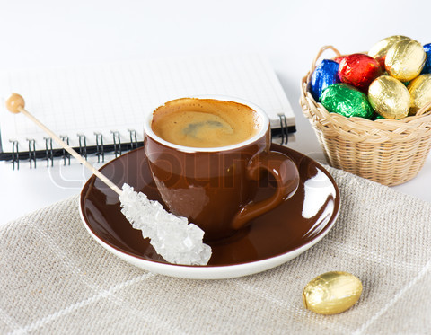 black coffee with chocolate easter eggs