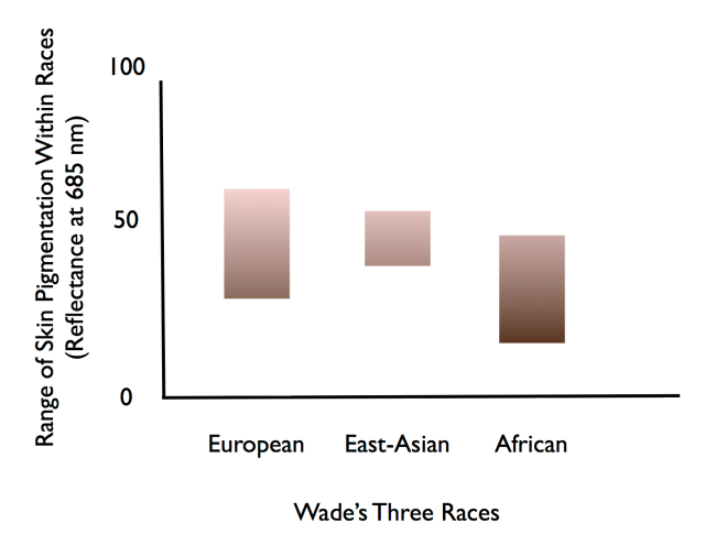 "Variation in human skin pigmentation within ""races"", as defined by Wade."