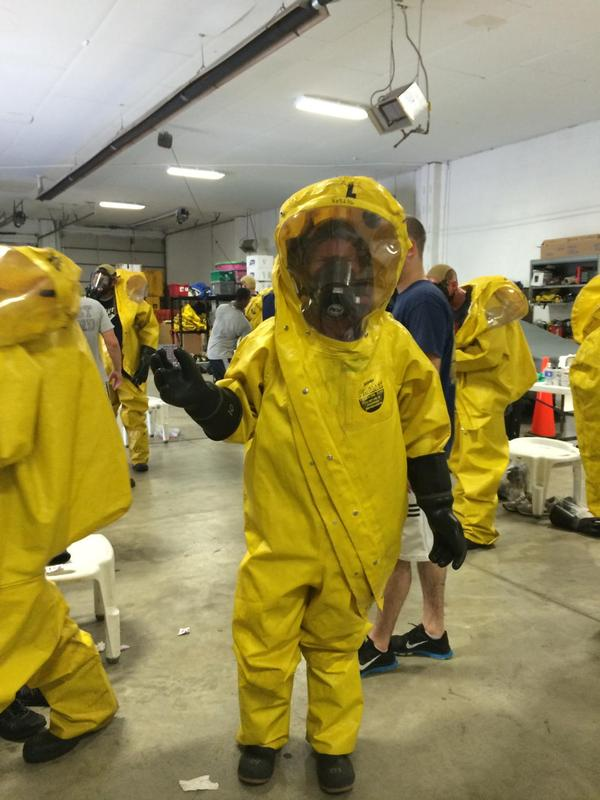 Yes, I know I am #distractinglysexy in my level A PPE. The suit totally flatters my curves.