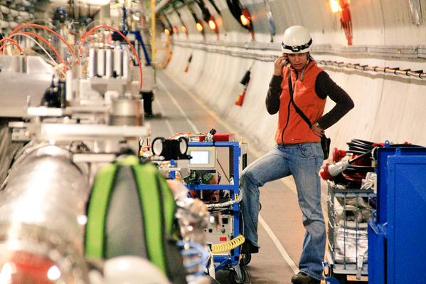 It might seem like I was fixing a leak on the Large Hadron Collider, but I was just #distractinglysexy